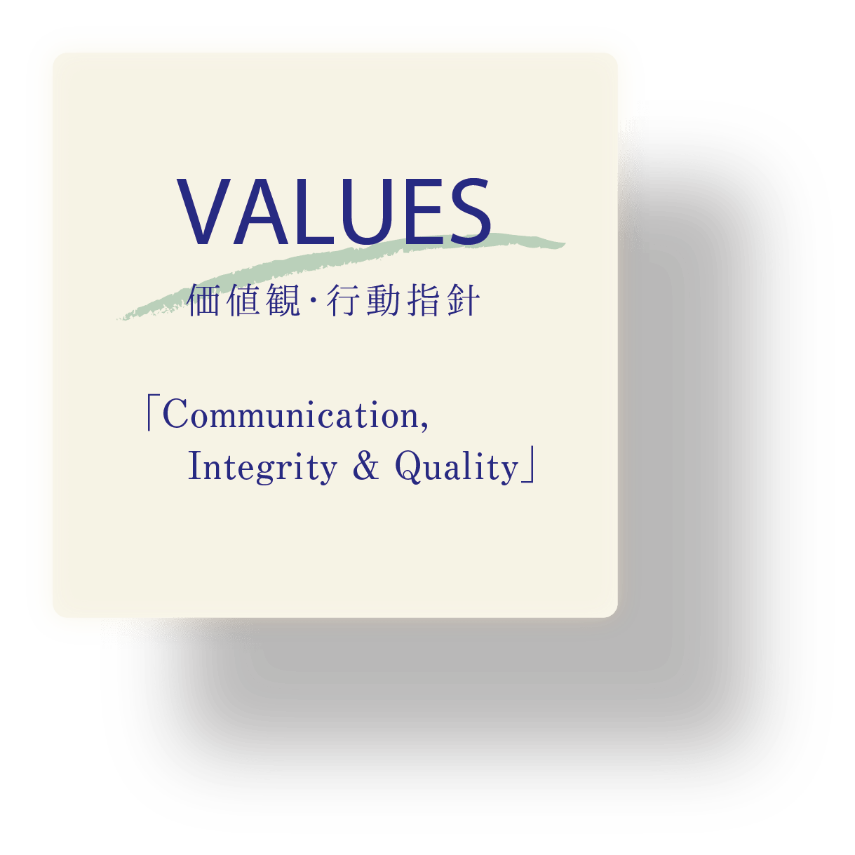 VALUES 価値観・行動指針「Communication, Integrity & Quality」
